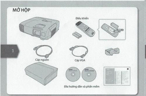 Hình minh họa các bộ phận cấu thành máy chiếu epson eb-x05