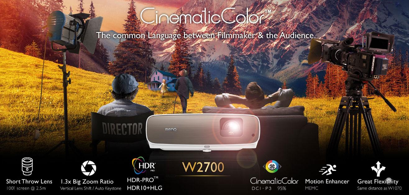 Máy chiếu 4K BenQ W2700 với DCI-P3/Rec.709, UHD và HDR-PRO